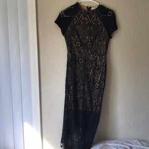 Lf super cute high low lace black dress